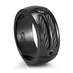 MIDNITE SPORT Black Titanium Ring with Black Diamond