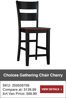 Choices Gathering Chair in Cherry. SKU: 250038709. Art Van Price $69.99. View details.