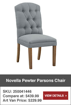 View · Novella Pewter Parsons Chair. Sku: 250041446. Art Van Price: $229.99.
