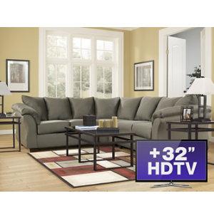 7 piece living room package with tv art van furniture