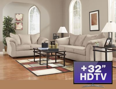 7 piece package stone with tv art van furniture for 7 piece living room set