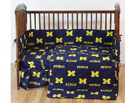 Wolverines Blue Crib Sheet