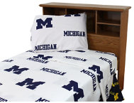 Wolverines White Twin Sheets