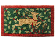 Holly Reindeer 18x30 Doormat