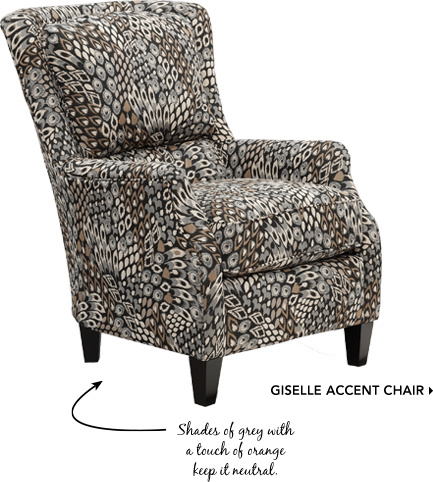 Giselle Accent Chair. Shades of grey with a touch of orange keep it neutral.