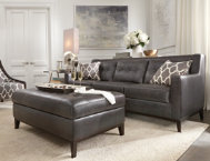 Roma Grigio Leather Sofa Art Van Furniture