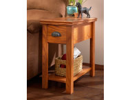 Kurio Chairside Table With One Drawer Burnished Oak