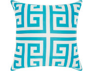 Greek Key Teal Outdoor Pillow