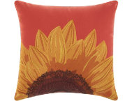 Coral Sunflower Outdoor Pillow