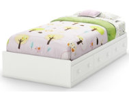 Savannah White Twin Mates Bed