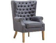 shop Abe Grey Linen Wing Chair