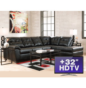 7pc living room package with tv art van furniture for Furniture 3 room package