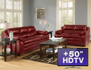 shop 7-Piece-Living-Room---Red-with-TV