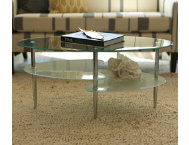 Wave Oval Glass Cocktail Table