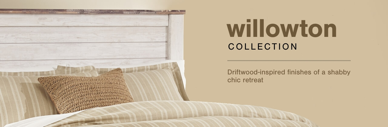 A Plus Content -  http://s7d3.scene7.com/is/image/AshleyFurniture/CollectionA%2BBanner%5FWillowton%5FBedroom?scl=1