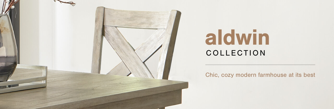 A Plus Content -  http://s7d3.scene7.com/is/image/AshleyFurniture/CollectionABanner%5FAldwin%5FDining?scl=1