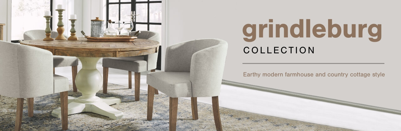 A Plus Content -  http://s7d3.scene7.com/is/image/AshleyFurniture/CollectionABanner%5FGrindleburg%5FDining?scl=1