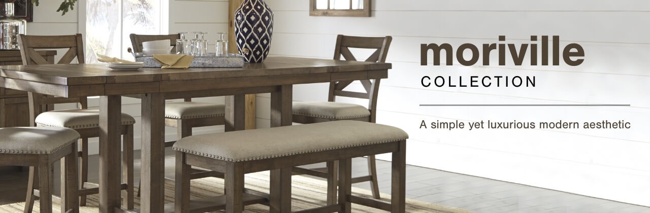 A Plus Content -  http://s7d3.scene7.com/is/image/AshleyFurniture/CollectionABanner%5FMoriville%5FDining?scl=1
