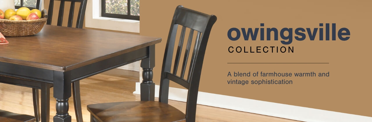 A Plus Content -  http://s7d3.scene7.com/is/image/AshleyFurniture/CollectionABanner%5FOwingsville%5FDining?scl=1