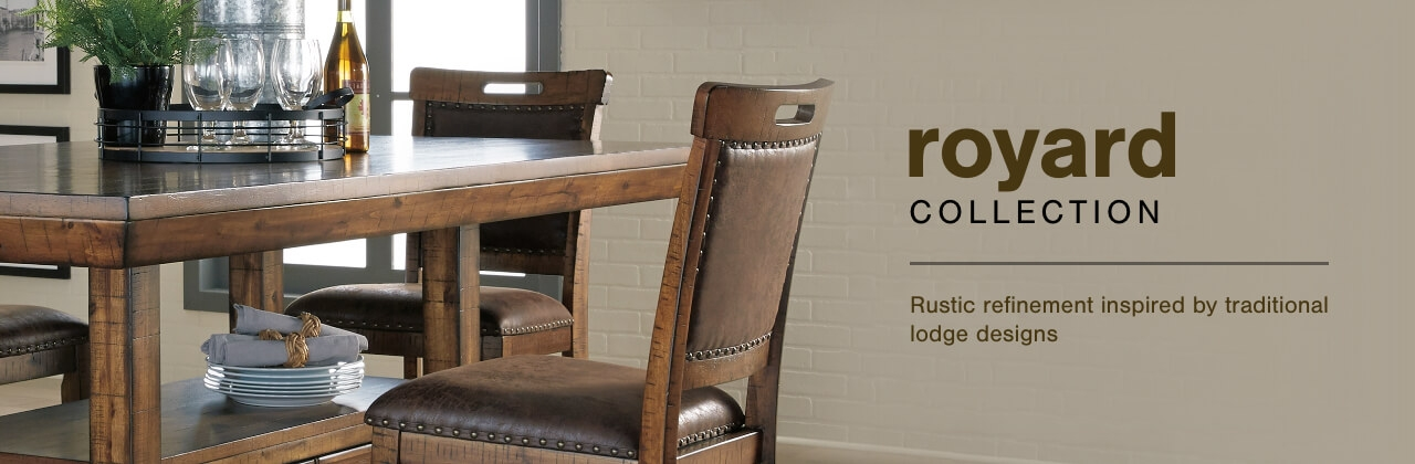 A Plus Content -  http://s7d3.scene7.com/is/image/AshleyFurniture/CollectionABanner%5FRoyard%5FDining?scl=1
