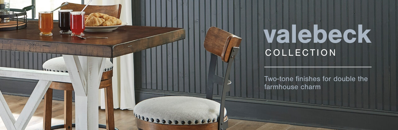 A Plus Content -  http://s7d3.scene7.com/is/image/AshleyFurniture/CollectionABanner%5FValebeck%5FDining?scl=1