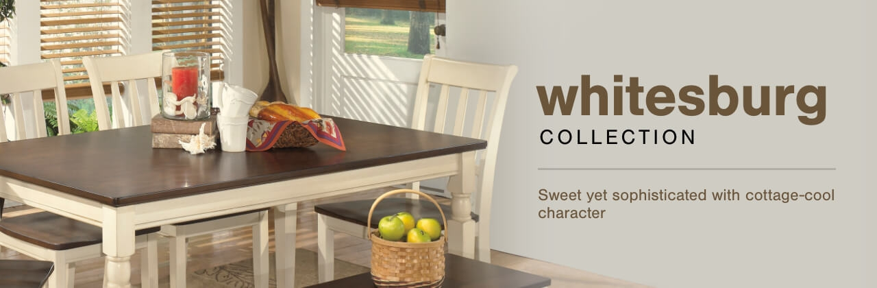 A Plus Content -  http://s7d3.scene7.com/is/image/AshleyFurniture/CollectionABanner%5FWhitesburg%5FDining?scl=1