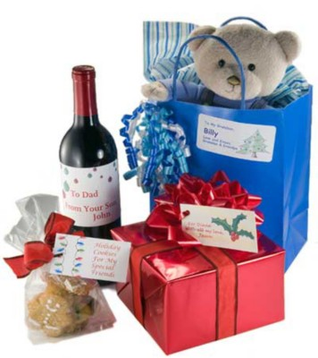 Wine & Wrapped Gift with Custom Labels