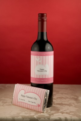 Valentine Wine Bottle and Candy Bar