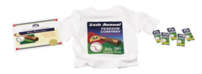 Baseball themed award, t-shirt and tix