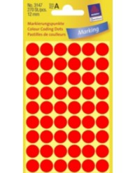 Coloured Marking Dots, bright red, 12 x 12 mm | 3147 | Avery Zweckform