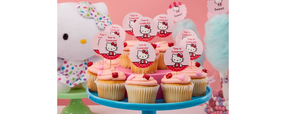 Create custom cupcake toppers for a Hello Kitty Party