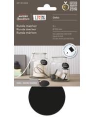 Runde mærker i tavlemateriale - Kan påskrives med kridt, inkl. snor