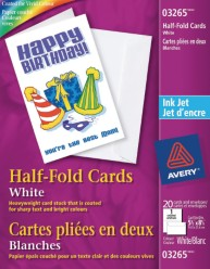 White Inkjet Half Fold Greeting Cards - 20 cards per pack