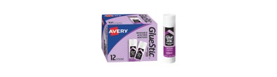 Avery® Glue Stic™ Disappearing Purple Color, Washable, Nontoxic, 1.27 oz., Pack of 12 (00226)
