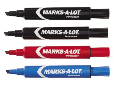 Marks-A-Lot Permanent Markers Regular Desk Style 4 pack Assorted 7905