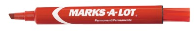 Marks-A-Lot Permanent Regular Markers- Red 12 Pack Clamshell 98017
