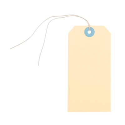 "MSHO Manila Hanging Tags, White String, Large, 4-3/4""x2-3/8"", 6 pk 11857"