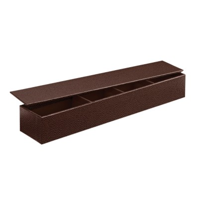"MSHO Desktop Box with 4 Compartments, Brown, 12-1/2"" W x 2-1/2"" D x 1-7/8"" H 13254"