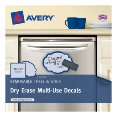 "Avery Dry Erase Decals, 10""x10"", Square/Oval, Blue Wrought Iron, 2 pack 22214"