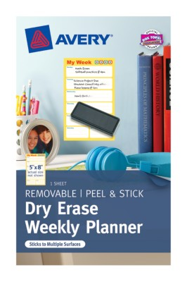 "Avery Dry Erase Weekly Planner,5""x8"",Vertical, Young Contemporary,Kids/Students, 1 per pack 22215"