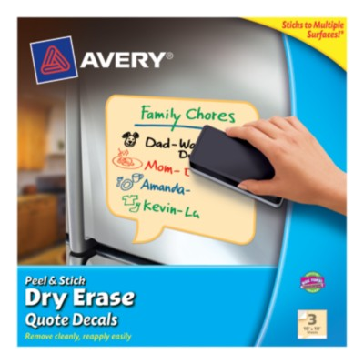 "Avery® Dry Erase Decals, Removable, Yellow Quotes, 10"" x 10"", 1 per sheet, 3 pack 24309"