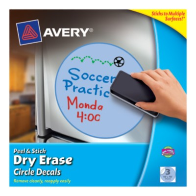 "Avery® Dry Erase Decals, Removable, Blue Circles, 10"" x 10"", 1 per sheet, 3 pack 24310"