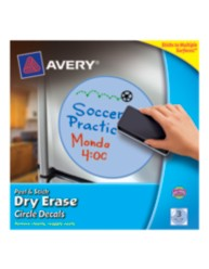 Avery Peel & Stick Dry Erase Circle Decals 24310, Blue, Packaging Image