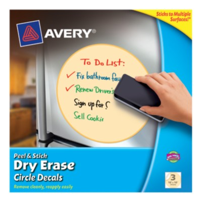 "Avery® Dry Erase Decals, Removable, Yellow Circles, 10"" x 10"", 1 per sheet, 3 pack 24311"