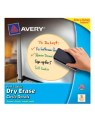 Avery Peel & Stick Dry Erase Circle Decals 24311, Yellow, Packaging Image