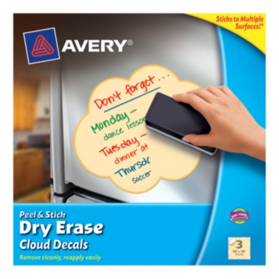"Avery® Dry Erase Decals, Removable, Yellow Cloud, 10"" x 10"", 1 per sheet, 3 pack 24313"