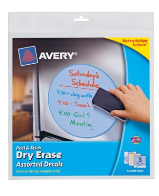"Avery® Dry Erase Decals, Removable, Assorted Decals, 10"" x 10"", 1 per sheet, 3 pack 24314"