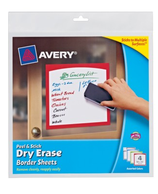 "Avery® Dry Erase Decals, Removable, Assorted Colored Borders, 10"" x 10"", 1 per sheet, 4 pack 24320"