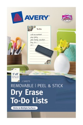 "Dry Erase To-Do List, 5""x8"", Pre-printed Eclectic, 2 Sheets, Blue/Brown 24381"
