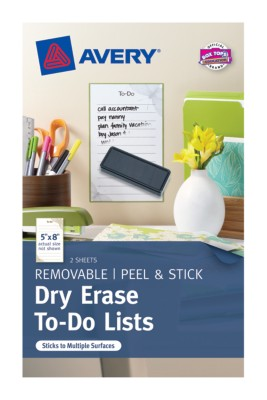 "Dry Erase To-Do List, 5""x8"", Pre-printed Cottage, 2 Sheets, Green/Brown 24389"